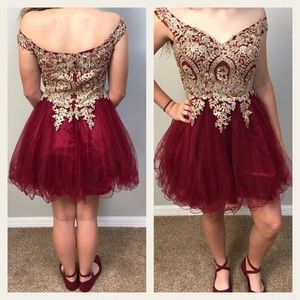 Dresses - Off Shoulder Burgundy & Gold Dress Size Med